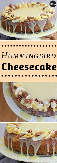 All of the elements of a classic hummingbird cake come together here in decadent cheesecake form. Layers of banana cheesecake, pineapple-pecan praline sauce, vanilla cheesecake, and white chocolate ganache are all stacked into a pecan-coconut graham crack Delicious Desserts, Dessert Recipes, Cupcakes, Cupcake Cakes, Banana Cheesecake, Cheesecake Recipes, Cheesecake Squares, Cheesecake Brownies, Biscuits