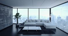 Living room with sofa and ambient window light