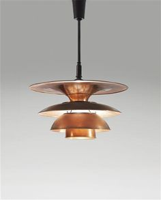 Poul Henningsen; Copper and Brass Type 4 Ceiling Light for Louis Poulsen, c1931.