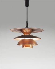 Poul Henningsen; Copper and Brass Type 4 Ceiling Light for Louis Poulsen, c1931.