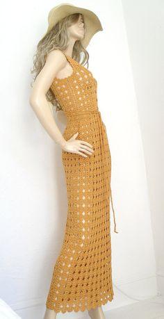 #Crochet maxi dress with waist belt.