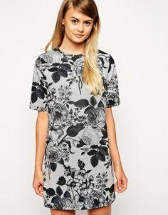 f65c47f33e ASOS T-Shirt Dress in Texture with Monofloral Print at asos.com