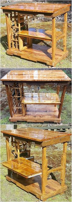 There should be a special bar table in the home, if the person likes to drink and serve to the friends. There is no need to buy it from the market as one can create it at home with the idea of reclaimed wood pallet patio bar table presented here. It contains the space to fix the glass under the surface, which makes this idea great.