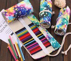 Painting Supplies Star Space Artists Roll Up Pencil Case Canvas Wrap Roll Pen Holder Hole & Garden Roll Up Pencil Case, Diy Pencil Case, My Planner Colibri, Colored Pencil Holder, Diy Galaxy, Pencil Writing, Pencil Bags, Pen Case, Paint Pens
