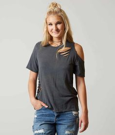 Gilded Intent Raw Edge T-Shirt - Women's T-Shirts in Blue Black | Buckle