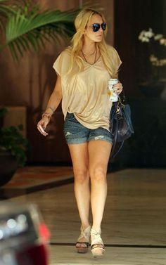 Lindsay Lohan wearing Alexander Wang Krystle Sandals in Bone, Chloe Paraty Bag…