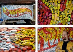 Created for a car enthusiast client, and designed by Kevin Champeny, this wall display is made up of 4,400 actual Hot Wheels. It took six months to source all the cars, and the display took four months to build.     HOT WHEELS is a registered trademark of MATTEL, Inc.