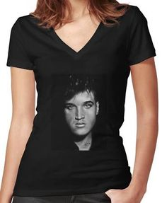 Elvis drawing Women's Fitted V-Neck T-Shirts