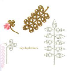 60 patrones de flores para tejer al crochet, hojas y mariposas