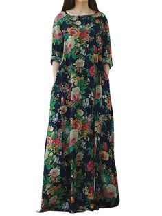 Retro Women Floral Printed Long Sleeve O-Neck Floor-Length Dresses - Banggood Mobile