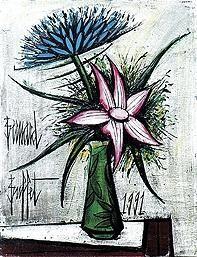 Bernard Buffet - Bouquet de fleurs dans un vase de Galle; Medium: oil on canvas; Dimensions: 65 X 50cm