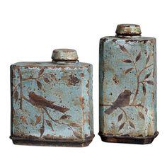 Uttermost 19547 Freya Light Sky Blue Container Set of 2 Slab Pottery, Ceramic Pottery, Ceramic Art, Thrown Pottery, Ceramic Bowls, Ceramic Decor, Cerámica Ideas, Sculptures Céramiques, Ceramic Sculptures