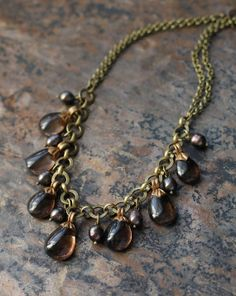 Smoky quartz and black pearls dangle necklace with chain (N-3004-1) - $120.00 - KotomiCreations - Etsy.com