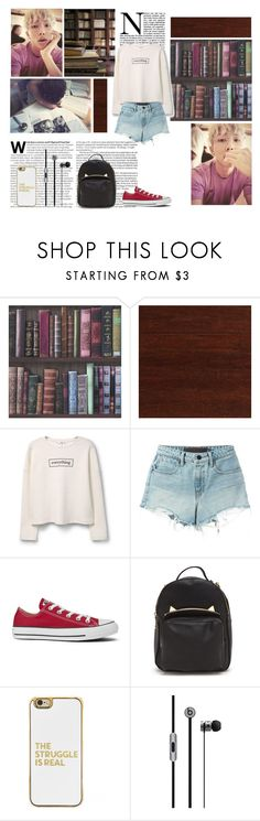 """First Date-Kim Namjoon"" by crystallurvesft ❤ liked on Polyvore featuring Home Decorators Collection, MANGO, T By Alexander Wang, Converse and BaubleBar"