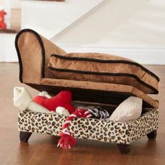 A pet bed with storage for all their toys
