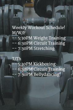 Weekly Workout Schedule! M/W/F -- 5:30PM Weight Training -- 6:30PM Circuit Training  -- 7:30PM Stretching  T/Th -- 5:30PM Kickboxing -- 6:30PM Circuit Training -- 7:30PM Bellydancing!   https://app.amstatz.com/p/business/actionherofitness/classes?utm_content=bufferc04b6&utm_medium=social&utm_source=pinterest.com&utm_campaign=buffer