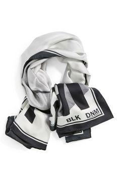 Black and white silk scarf