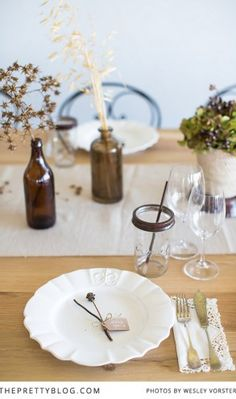 Simplistic Thanksgiving Table setting idea.  | Decor: Landtscap and Leipzig | Photography: Wesley Vorster |