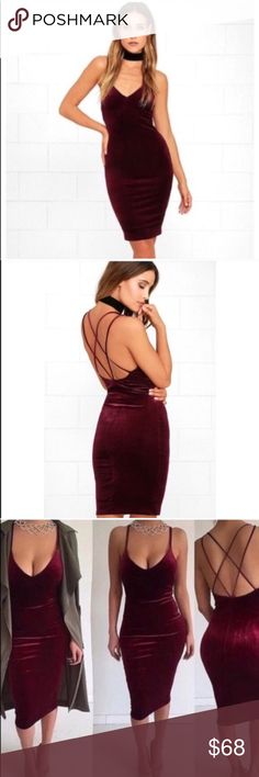 """🆕Sexy burgundy velvet dress ❤💋 This bodycon burgundy velvet dress is a MUST for this holiday season. Last year I sold out of this and was able to find some more to restock. You will want to have this in your closet. Made out of spandex and polyester materials. MEASUREMENTS--- SMALL: bust 33-34"""", waist 25-26.7"""", hip 32-35.4"""", & length 39""""---LARGE: bust:36-37.8"""", waist: 28-29.9, hip: 35-38.5, & length: 40.16""""❤️ Dorimas Closet Dresses Midi"""