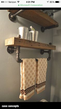Reclaimed Barn Wood Bathroom Shelves Thanks for looking at this creation! Reclaimed barn wood bathroom shelves made out of salvaged lumber from a Saline Michigan Wood Towel Bar, Shelves, Diy Furniture, Barn Wood Bathroom, Barn Wood, Bathroom Wood Shelves, Home Diy, Reclaimed Barn Wood, Bathroom Decor