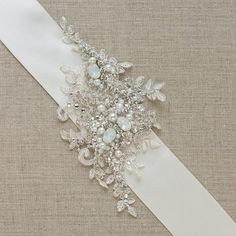 Rhinestone crystal lace Bridal sash, Opal Ivory Bridal gown sash, wedding accessory ribbon belt IVORY applique rhinestone pearl vintage