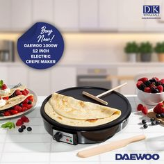 Daewoo 1000W 12 Inch Electric Crepe Maker HEALTHY OPTION - Use this portable hot plate to cook sweet or savory pancakes with very little butter or oil - Add chopped up fruits or vegetables to your crepe to squeeze in some of your 5 a day EASY TO USE AND CLEAN - The Electric Crepe Maker is simple to use thanks to the nonstick coating - This also allows you to easily clean the plate with a wet cloth NON-STICK COATING - Cook your crepes or pancakes in a much more healthy way. Greek Yogurt Pancakes, Crepe Maker, Fruit Juicer, Savory Pancakes, Healthy Options, Fruits And Vegetables, Crepes, Food Processor Recipes, Bacon