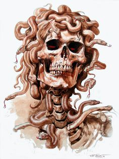 billabong art - Medusa Snake Skull Tee shirt design by Phil Roberts