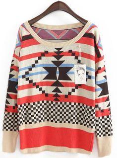Apricot Red Long Sleeve Geometric Pattern Sweater