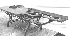 One of the earliest tablesaws Woodworking Power Tools, Antique Woodworking Tools, Antique Tools, Old Tools, Woodworking Machinery, Vintage Tools, Table Saw, Machine Tools, Wood Working