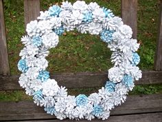 Pine Cone Wreath.  New Winter Wonderland Wreath.  Available with other colors.  Very Sparkly.  <3 www.etsy.com/shop/NaturesCraftSupply