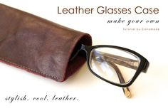 Make your own leather glasses case using a scrap of leather and a home sewing machine. Simple instructions with tips for sewing with leather Leather Gifts, Leather Case, Diy Leather Glasses Case, Sewing Accessories, Leather Accessories, Diy Gifts For Men, Leather Scraps, Sewing Leather, Leather Projects