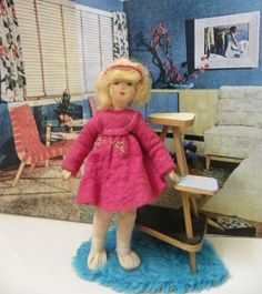 VINTAGE GERMAN ERNA MEYER DOLLHOUSE STOCKINETTE DOLL 1:12 SCALE
