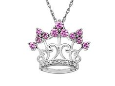 PInk Sapphire Crown Pendant Necklace - for my inner princess