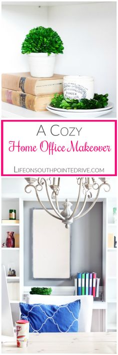 Home - A Cozy Home Office Makeover, Home Office Makeover, Home Office, Organized Home Office, Organized Office, Home Office