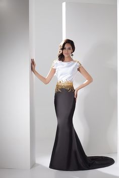 Amazing Black and White Formal Dresses : Elegant Black White Satin Gold Beading Mermaid Formal Dress