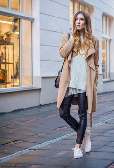 Zara camel coat and H&M faux leather pants for winter outfit.