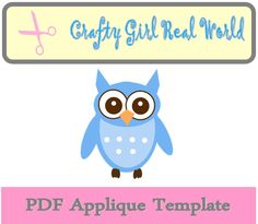 Printable Owl PDF Applique template