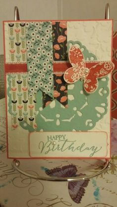 PPA 256 SUBMISSION  SU materials: 2015-16 in colors watermelon wonder and mint macron ink and card stock and very vanilla card stock and pretty petals paper stack  butterfly basics and chalk talk stamp set  and dies doily die and spring flowers embossing folder  poppy parade ribbon and pearls