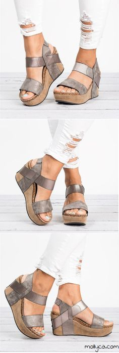 $43.29 USD Sale!SHOP NOW! Large Size Slip On Double Band Wedges Sandals