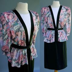 VTG 80s does 40s Dress Crawford Power Peplum Straight Skirt Floral Poly Knit M L #JennyPetites
