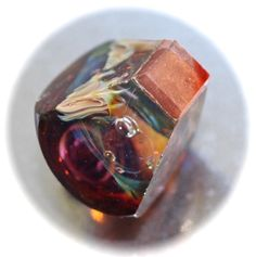 Button / Glass / Paperweight / Square Base / Flashed / Lampworked / Geometric  / Made by KPhoppe / Small by HoppeEtc on Etsy