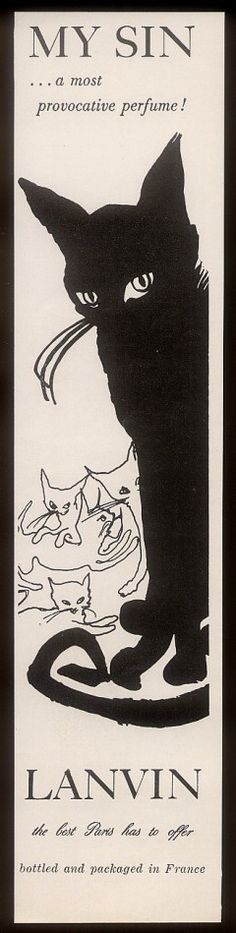 Cats in Advertising: My Sin perfume, 1967.