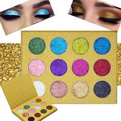 12 Color Diamond Glitter Rainbow Eye Shadows MakeUp Cosmetic Pressed Palette