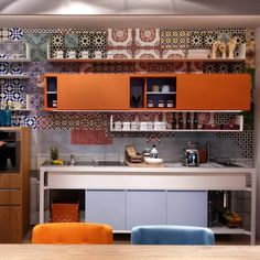We love this quirky take on the transitional kitchen. #EstelKitchens #Coffice  #SalonedelMobile #Eurocucina #Milano #KitchenDesign