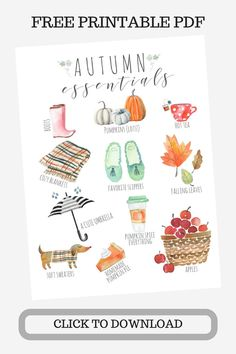 Celebrate Fall with a fun Autumn Essentials Printable. Perfect for a favorite spot in your home!