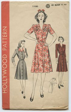 1940s Hollywood 1100 Button Front One-Piece Dress with Bow Detail and Dickey with Shaped Collar Vintage Sewing Pattern Bust 40