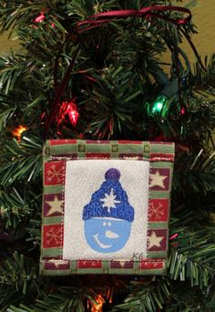 Snowman w. Side Pom Stamped Fabric Square Christmas Ornaments by KjgBoutique on Etsy