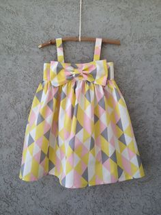 Pink, Yellow, Grey, White, Geometrical/Triangle pattern, 100% Organic cotton Baby/Toddler Dress, Easter Dress