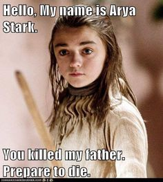 ":D Game of Thrones meets The Princess Bride. ""Hello, My name is Arya Stark. You killed my father. Prepare to die. Arya Stark, Ygritte And Jon Snow, Serie Got, Movies And Series, Game Of Thrones Funny, My Sun And Stars, Valar Morghulis, Valar Dohaeris, Winter Is Coming"
