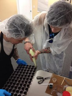 """ Chocolate making with @AshleyPurdy & @AndyBVB what a SWEET way to start the day! #BVB "" - @PurdysChocolate"